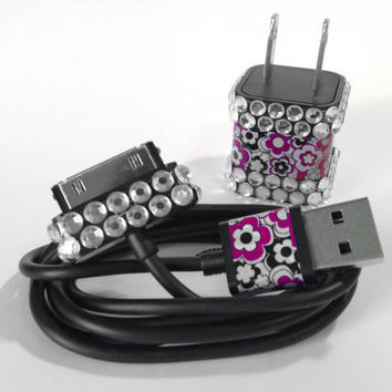 Pink Flowers & Rhinestone USB Charger and Cord