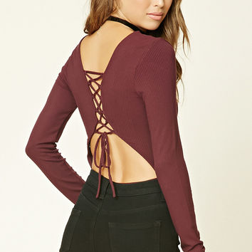 Lace-Up Ribbed Knit Bodysuit