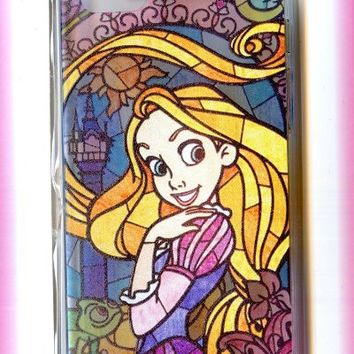 Disney Princess Tangled Rapunzel Stained Glass Style for iPhone 5 5s Transparent Hard Cover Case
