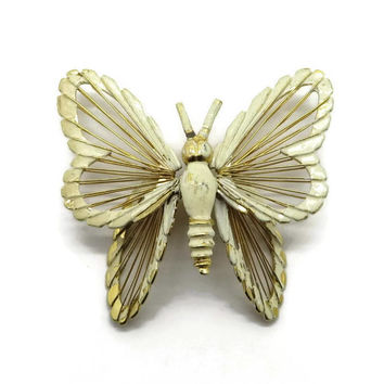 Monet Cream Butterfly Brooch, Vintage Enamel Gold Tone Pin, 1960s, Insect Pin