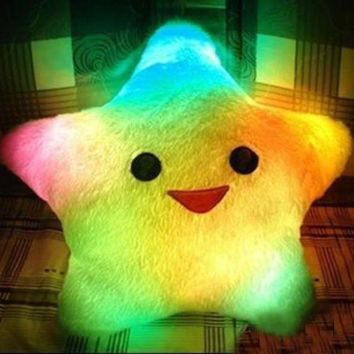 DCCKNQ2 Colorful LED Luminous Stars Pillow Plush Toy