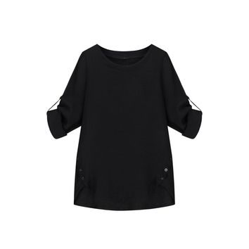 Roll Up Sleeve Button Side Blouse