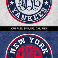 Baseball New York Yankees Monogram Frame - SVG, eps, DXF, png Digital Download, Cut Files for Silhouette, Cricuit, cutting machines cv-474