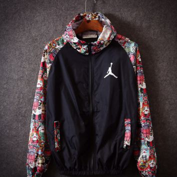 Floral Print Windbreaker Lightweight Hooded Jacket