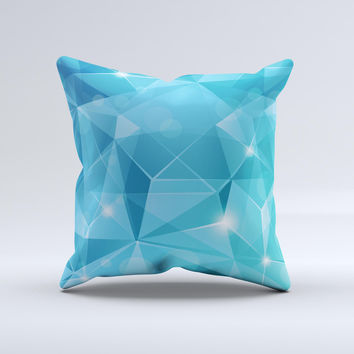 Vector Shiny Blue Crystal Pattern Ink-Fuzed Decorative Throw Pillow