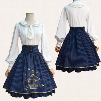 Women's Bird Cage Embroidery Classic Striped Lolita SK Skirt Elastic Waist Hem Skirt Nice Lace Skirt Color Blue & Wine Red