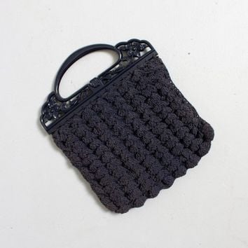 Vintage 30s Purse - Navy Blue Crochet Black Plastic Carved Handle Deco Clutch Bag - 1930s