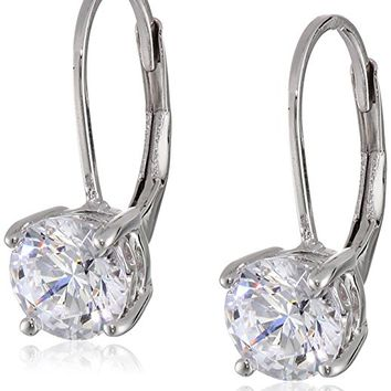 Platinum-Plated Sterling Silver Swarovski Zirconia Leverback Earrings