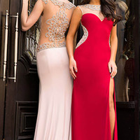 Jovani 99085 In Stock Red SZ 14 Jeweled Sheer Back Jersey Prom Pageant Dress
