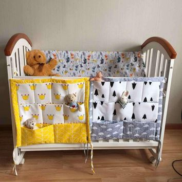 Baby Bed Hanging Baby CotStorage Bag Cotton Newborn Crib Organizer Toy Diaper Pocket for Crib Bedding Set Accessories Baby Cot