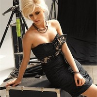 Mini short strapless black Evening Dresses LRED0018