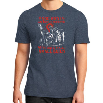 YOU AND I SAMLL GUILD District T-Shirt (on man)