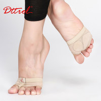 Two Holes mesh and cow suede Professional Belly Toe Pad Modern Half Lyrical Dance Shoes Sandals mesh Paws Dance Foot Thongs 6109