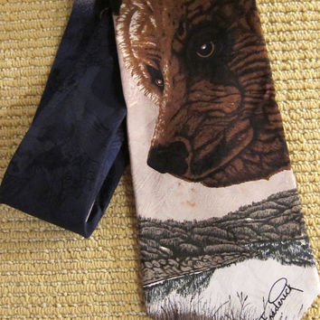 1990s Grizzly Bear + Endangered Species Silk Tie