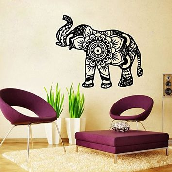 Elephant Wall Decal Namaste Lotus Flower Patterns Tribal Indian Pattern Om Ganesh Buddha Wall Decal Vinyl Sticker Home Wall Decor Mural Bedroom Home Decor (6102)
