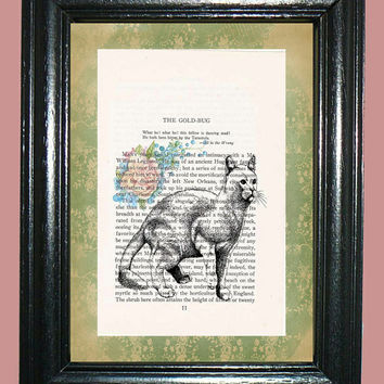Ready Cat with Flowers Novel Book Page Art - Edgar Allan Poe Story Page Upcycled Page Art Home Decor Collage Art Print