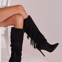 Missguided - Heeled Tassel Knee High Boots Black