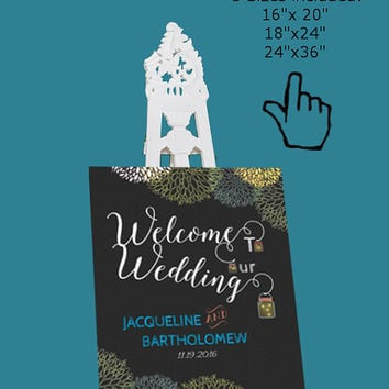 DIY Wedding Welcome Sign Template Printable, Editable PDF Template, Instant Download, Digital, Chalkboard Mason Jars and Fireflies #1CM77-1