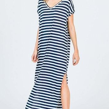 Abigail Navy Striped T-Shirt Maxi Dress