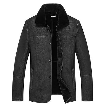 Men's Fur Coat Slim Shearling Outerwear Luxuly Casual Parka wool Jacket size 6xl 7xl 8xl 9xl