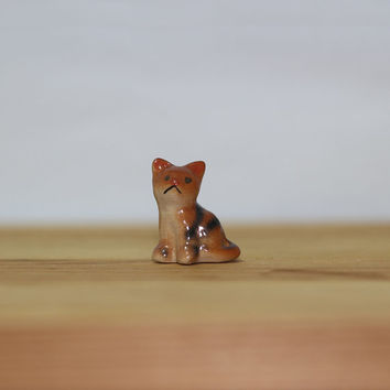 Miniature Ceramic Hand Painted Sad Tabby Cat Figurine, Ceramic Cat Terrarium Decor Figurine, Mini Cat Totem, Christmas Gift Charm
