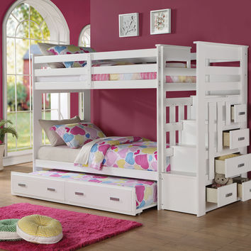 Acme Allentown Twin/Twin Bunk Bed with Storage Ladder & Trundle, White