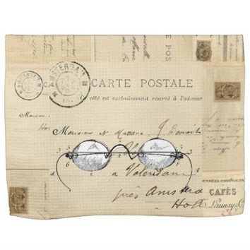Vintage Spectacles French Postcard Towel