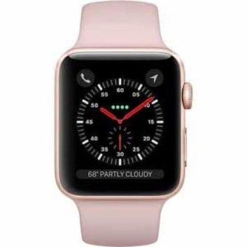 LMFGQ6 Apple Watch Series 3 Smartwatch - Gold Case/Pink Band - 42mm (MQK32LL/A)