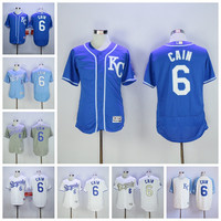 Flexbase 6 Lorenzo Cain Jersey KC Gold with World Series Champions Patch Baseball Kansas City Royals Jerseys Baby Blue Grey White Stitched