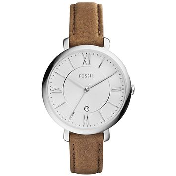 Fossil Jacqueline Silver Dial Tan Leather Strap ES3708 Women's Watch