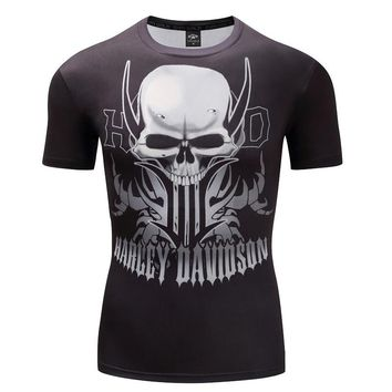 3D Skull Short Sleeve Hip Hop Fashion Tee Shirt Print Designed