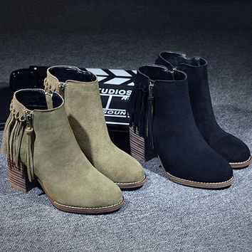 On Sale Hot Deal Leather Tassels Winter Ladies High Heel Matte Boots [8914681030]