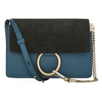 Two-Tone Suede and Leather Faye Clutch Bag by Chloé