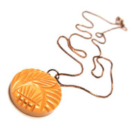 """Mustard Yellow Necklace Pendant, Carved Leaf, Feather Design, Vintage Button Pendant Necklace, Upcycled Jewelry - """"Cabana Sunshine"""""""