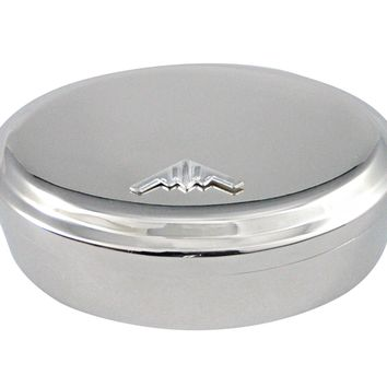 Silver Toned Stealth Bomber Plane Pendant Oval Trinket Jewelry Box