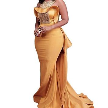 2018 Yellow Mermaid Beaded Evening Dress Celebrity Dress With Sweep Train Satin Ruffles Evening Gown women summer dress