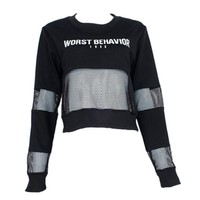 Casual Cropped Mesh Long Sleeve