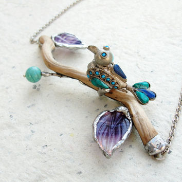 Paradiso Necklace Wood Turquoise Amethyst by StaroftheEast