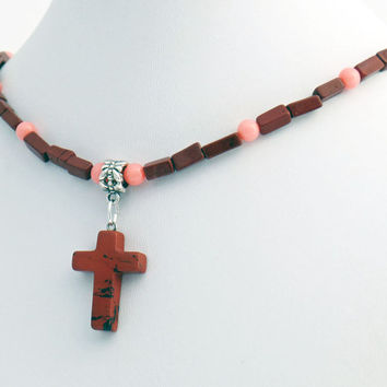 Red Jasper Stone Cross Pendant with Red Jasper and Angelskin Coral Necklace