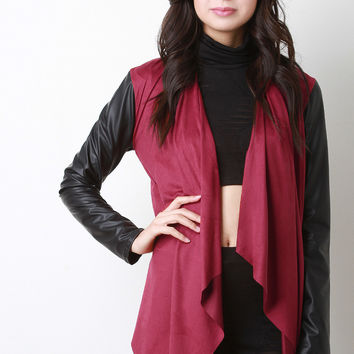 Suede and Vegan Leather Asymmetrical Cardigan