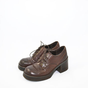 Vintage 90s Chunky Heel Shoes Brown Shoes Platform Shoes Candies Shoes Loafers Size 8