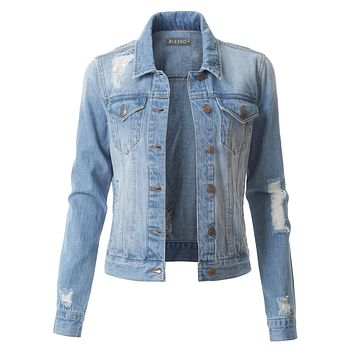 LE3NO Womens Vintage Distressed Long Sleeve Ripped Boyfriend Denim Jacket