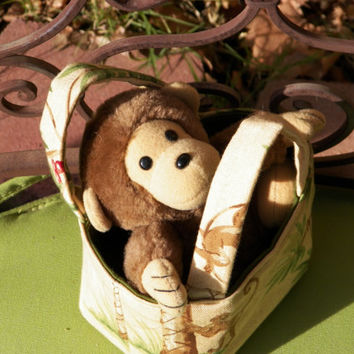 Monkey in the Palms Teeny Tote Bag Including Plush toy
