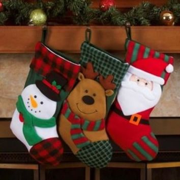 """Imperial Home 3 Piece 18"""" Plaid Fleece Christmas Stocking(Pack Of 24)"""