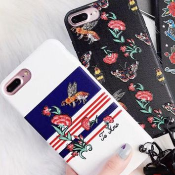 ac NOVQ2A Gucci Bee Flower embroidery Bee shell iPhone8x protective cover full bag anti-drop 7plus south Korean female 6s soft shell hanging rope