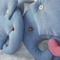 Blue elephant toys mother and baby - Blue Elephant cotton toy -  baby shower gift -  Kids room decoration - home decor - soft toy