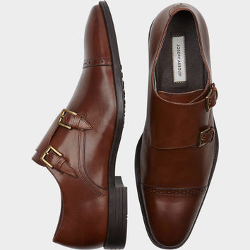 Joseph Abboud Foxfield Chestnut Double Monk Strap Shoes - Dress Shoes | Men's Wearhouse