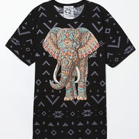 Riot Society All Over Ornate Elephant T-Shirt - Mens Tee - Black