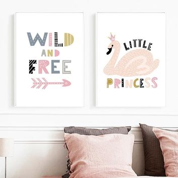 Cartoon Swan Crown Princess Quote Wall Art Canvas Painting Nordic Posters And Prints Wall Pictures For Kids Room Pop Art Decor