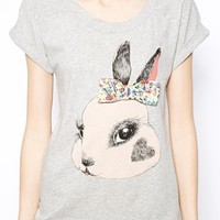 Love Moschino T-Shirt with Bunny Print and Appliqué Bow